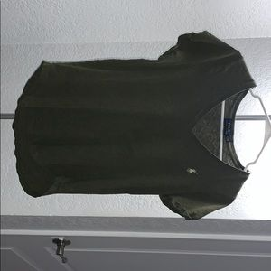 Olive green polo v neck tee